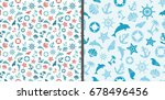 seamless sea patterns with... | Shutterstock .eps vector #678496456