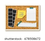 items pinned to corkboard with...   Shutterstock .eps vector #678508672