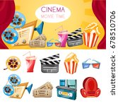 cinema movie elements cartoon... | Shutterstock .eps vector #678510706