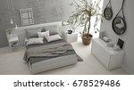 modern bedroom with window ... | Shutterstock . vector #678529486