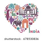 traditional symbols of india in ... | Shutterstock .eps vector #678530836
