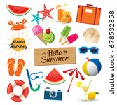 summer sticker icon set flat... | Shutterstock .eps vector #678532858