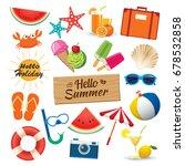 summer sticker icon set flat... | Shutterstock .eps vector #678532858