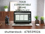 comfortable workplace with... | Shutterstock . vector #678539026