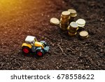 agricultural tractor toy and... | Shutterstock . vector #678558622