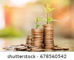 step of coins stacks with tree... | Shutterstock . vector #678560542