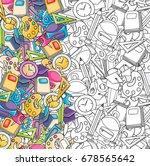 school elements clip art doodle ... | Shutterstock .eps vector #678565642