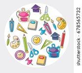 school elements clip art doodle ... | Shutterstock .eps vector #678565732