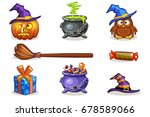 funny cartoon halloween vector...   Shutterstock .eps vector #678589066