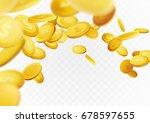 flying realistic golden cash... | Shutterstock .eps vector #678597655