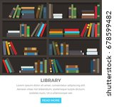 library brown shelves with... | Shutterstock .eps vector #678599482