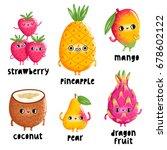 fun fruit characters  vector... | Shutterstock .eps vector #678602122