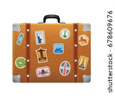 travel stickers on retro... | Shutterstock .eps vector #678609676