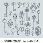 vintage keys and padlocks for... | Shutterstock .eps vector #678609715