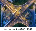 aerial view  road roundabout ... | Shutterstock . vector #678614242
