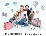happy family ready for vacation ...   Shutterstock . vector #678616972