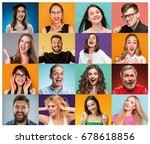 the collage from portraits of... | Shutterstock . vector #678618856