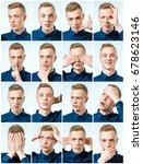 set of handsome emotional man... | Shutterstock . vector #678623146