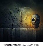 Human Skull On Old Wood Wall...