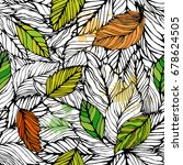 seamless leaves background....   Shutterstock .eps vector #678624505