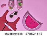 summer hipster girl accessories ... | Shutterstock . vector #678624646