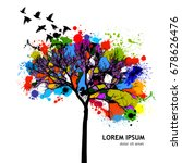 colored tree with flying birds. ... | Shutterstock .eps vector #678626476