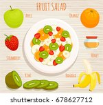 the recipe for fruit salad.... | Shutterstock .eps vector #678627712