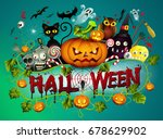 vector illustration of cute... | Shutterstock .eps vector #678629902