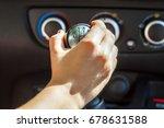 driver hand shifting gear shift ... | Shutterstock . vector #678631588