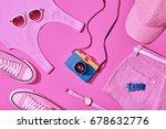 summer hipster girl accessories ... | Shutterstock . vector #678632776