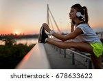 young woman jogger stretching...   Shutterstock . vector #678633622