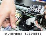 man's hand twist screw by... | Shutterstock . vector #678645556