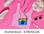 summer hipster girl accessories ... | Shutterstock . vector #678646126