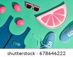 fashion summer hipster... | Shutterstock . vector #678646222