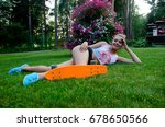 beautiful girl with skateboard | Shutterstock . vector #678650566