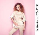 fashion portrait of woman in... | Shutterstock . vector #678653242