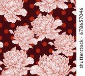 hand drawn linen peony flower ... | Shutterstock .eps vector #678657046