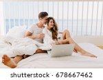 beautiful couple spending time... | Shutterstock . vector #678667462