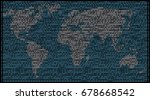 map of world with binary code ... | Shutterstock .eps vector #678668542