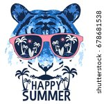 tiger and happy slogan... | Shutterstock .eps vector #678681538