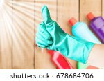housekeeper showing thumb up in ...   Shutterstock . vector #678684706