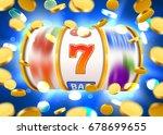 golden slot machine with flying ... | Shutterstock .eps vector #678699655