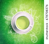 green tea with circle ecology... | Shutterstock . vector #678708376