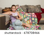 beautiful young girl at home... | Shutterstock . vector #678708466