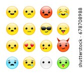 Funny Yellow Isolated Emoticons ...