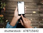 close up on hand using phone... | Shutterstock . vector #678715642