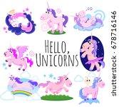 cute unicorn isolated set ... | Shutterstock .eps vector #678716146