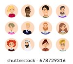 set of diverse round avatars... | Shutterstock .eps vector #678729316