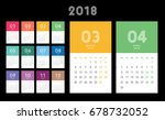 colorful calendar layout for... | Shutterstock .eps vector #678732052