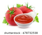 ketchup in bowl and two fresh... | Shutterstock . vector #678732538